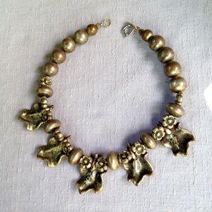 Vintage Eighties Gold Leaf Statement Necklace